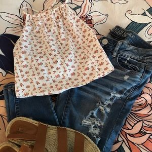 Floral Top with Ripped Jeans